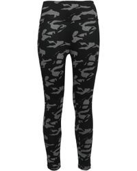 a29833fd33 Monrow - Woman Printed Stretch-jersey Leggings Gray - Lyst