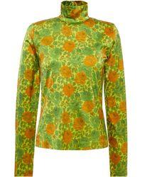 Marques'Almeida Floarl-print Stretch-satin Turtleneck Top Lime Green
