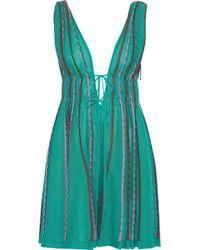 M Missoni - Metallic Knitted Cotton-blend Playsuit - Lyst