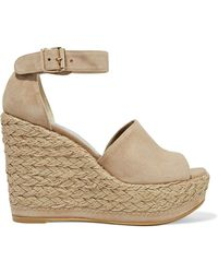 Stuart Weitzman - Soho Jute Leather Wedge Espadrille Sandals - Lyst