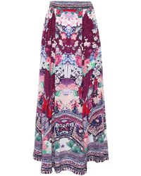 Camilla Little Osaka Girl Crystal-embellished Silk Crepe De Chine Maxi Skirt Magenta - Multicolour