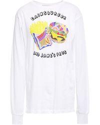 Être Cécile Être Cécile Printed Cotton-jersey Top - White