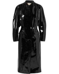 Christopher Kane Crinkled Patent-leather Coat Black