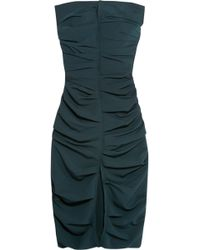 Carmen March - Strapless Ruched Crepe Midi Dress - Lyst