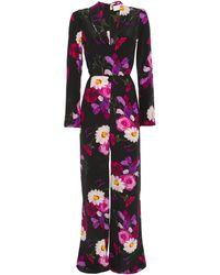 Seren London Betty Floral-print Silk-crepe Wide-leg Jumpsuit - Black