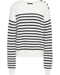 Maje Striped Knitted Jumper Ecru - Multicolour