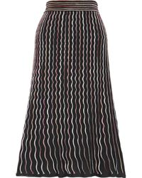 M Missoni Pleated Crochet-knit Cotton-blend Midi Skirt - Black