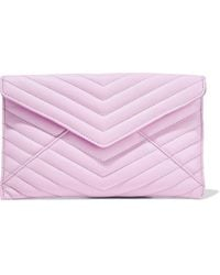 Rebecca Minkoff Leo Quilted Textured-leather Pouch Bubblegum - Pink