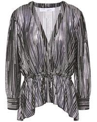 IRO Darla bedruckte bluse aus jersey mit metallic-effekt - Schwarz
