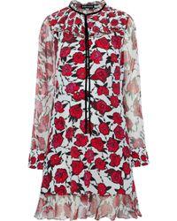 Markus Lupfer - Alana Metallic Georgette-trimmed Floral-print Silk Dress - Lyst