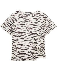 Rejina Pyo Gathered Tiger-print Cotton-jersey T-shirt - White
