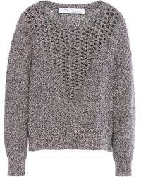 IRO - Former Open Knit-paneled Mélange Bouclé-knit Cotton-blend Sweater Gray - Lyst