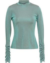 M Missoni Ruched Iridescent Stretch-knit Top - Green