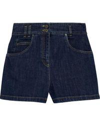 Moschino Embroidered Denim Shorts Dark Denim - Blue