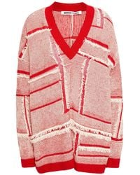 McQ Frayed Patchwork-effect Linen And Cotton-blend Jumper Red