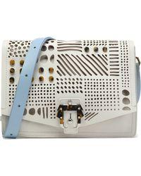 Paula Cademartori - Embellished Laser-cut Leather Shoulder Bag Sky Blue - Lyst