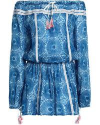 lemlem - Off-the-shoulder Printed Cotton-gauze Mini Dress - Lyst