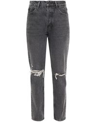 Anine Bing Brenda Cropped Distressed High-rise Slim-leg Jeans Dark Gray