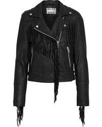 Walter Baker Alexis Fringed Washed-leather Biker Jacket - Black