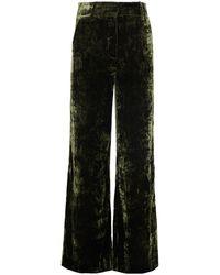 FRAME Panne Met Crushed-velvet Wide-leg Trousers Forest Green