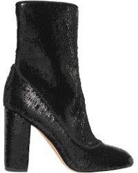 Sam Edelman - Woman Calexa Sequined Stretch-twill Sock Boots Black - Lyst