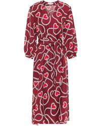 Chinti & Parker Printed Silk-twill Midi Dress - Red