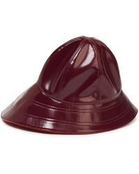 Emilio Pucci Glossed Faux Leather Bucket Hat - Red