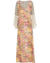 Anjuna Allegra kaftan aus jacquard mit floralem print und chiffon-einsätzen - Pink