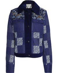 Mary Katrantzou - Woman Henri Embroidered Denim-paneled Printed Cotton-twill Jacket Royal Blue - Lyst