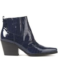 Sam Edelman Winona Glossed Croc-effect Leather Ankle Boots Navy - Blue