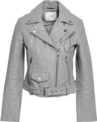 Maje - Woman Bassung Leather Biker Jacket Stone - Lyst