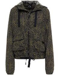 The Upside Rami Leopard-print Shell Hooded Jacket - Green