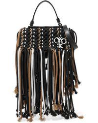 Emilio Pucci - Leather-trimmed Fringed Macramé Shoulder Bag - Lyst