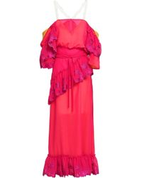 Marco De Vincenzo - Woman Cold-shoulder Ruffled Embroidered Voile Midi Dress Fuchsia Size 40 - Lyst