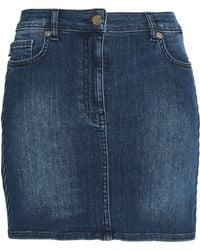 Love Moschino - Woman Faded Denim Mini Skirt Mid Denim - Lyst