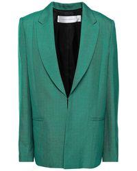 Victoria, Victoria Beckham Panelled Satin And Woven Blazer - Green