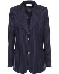 Victoria Beckham Pinstriped Wool Blazer - Blue