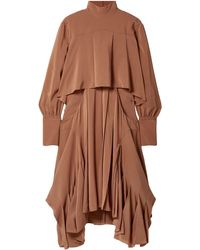 Chloé Chloé Asymmetric Pleated Silk Crepe De Chine Turtleneck Dress Camel - Brown