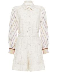 Emilio Pucci Panelled Printed Chiffon And Tweed Playsuit - White
