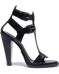 d0f1b991178 Lyst - Balmain Open Toe Braided Leather High Heel Sandals in Black