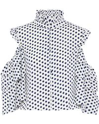 W118 by Walter Baker - Cold-shoulder Ruffle-trimmed Polka-dot Crepe De Chine Top - Lyst