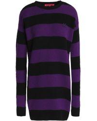 McQ - Appliquéd Striped Wool And Cashmere-blend Mini Dress - Lyst