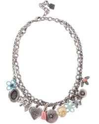 DANNIJO Amabella Burnished Silver-tone, Crystal And Resin Necklace Silver - Metallic