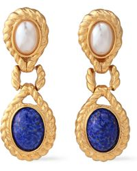 Ben-Amun 24-karat Gold-plated, Faux Pearl And Stone Clip Earrings Gold - Metallic