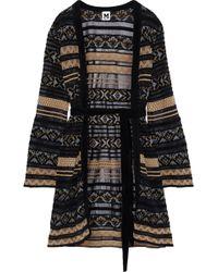 M Missoni - Woman Belted Crochet-knit Cardigan Black - Lyst