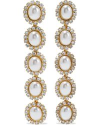 Elizabeth Cole Von 24-karat Gold-plated Crystal Earrings Gold - Metallic