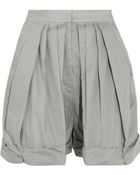 Vika Gazinskaya - Pleated Cotton-poplin Shorts Light Grey - Lyst