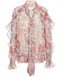 Walter Baker Troy Tie-neck Ruffled Floral-print Metallic Georgette Blouse Antique Rose - Pink