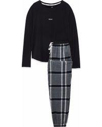 DKNY - Checked Flannel Pajama Set Black - Lyst