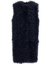 Yves Salomon Reversible Shearling Vest Navy - Blue